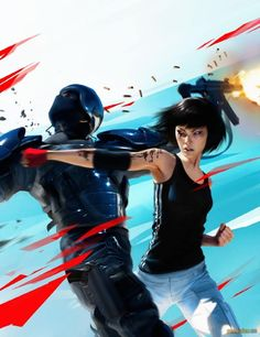 Faith from Mirrors Edge fight with the robot. I played the game and feel it is underrated.