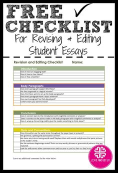 Essays On Business Ethics Revision And Editing Checklist For Students When Students Are Finished  Drafting This Is A Sample Business School Essays also Thesis Statement In A Narrative Essay  Best Editing And Revising Images On Pinterest  Writing Help  Cause And Effect Essay Thesis