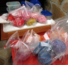 Dye scrim in plastic bags http://fibermania.blogspot.ca/2012/12/back-on-my-feet.html