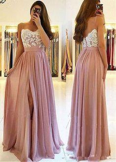 Blush Pink Lace 2019 Arabic Beach Bridesaid Dresses Spaghetti A-line Wedding Guest Dresses High Split Chiffon Party Gowns