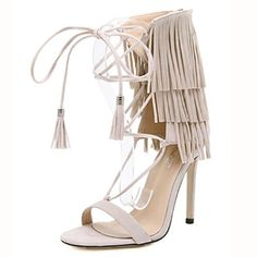 661c89008 Stylish Open-toe Lace-up Hollow-out Tassel Design Stiletto Super High Heel  Apricot PU Ankle Strap Sandals