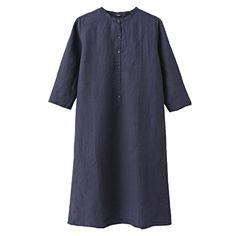 muji blue linen dress