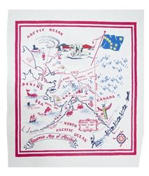 ALASKA State Map Souvenir Vintage Style Tablecloth Red White Blue $32.99