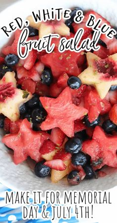 This simple and easy red, white, and blue fruit salad with honey lime dressing is the best recipe for your summer holiday parties and picnics from Memorial Day and July 4th to Labor Day and even Flag Day. The star shaped peaches and watermelons are sure to be showstoppers at every meal! Fourth Of July Food, July 4th, How To Make Salad, Food To Make, Picnic Side Dishes, Honey Lime Dressing, Quick Easy Meals, Simple Meals, Blue Fruits