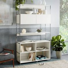"Lacquer Storage 49"" Open + Closed Storage #westelm"