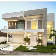 Modern home design Modern Small House Design, Modern Exterior House Designs, Modern House Facades, Modern Bungalow House, House Front Design, Minimalist House Design, Modern Architecture House, Modern House Plans, Architecture Interiors