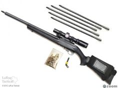 Ruger 10-22 Deluxe Arrow Conversion Kit  These kits easily convert a Ruger 10/22 rifle into an archery rifle that can fire five arrows within a one-inch group at 50 yards. It only takes a few minutes to remove the stock 10/22 barrel and replace it with the Arrow assembly. Operation is as simple as sliding an arrow inside the shroud, inserting a blank in the chamber...and firing. Arrows go downrange at an impressive 425 feet per second.