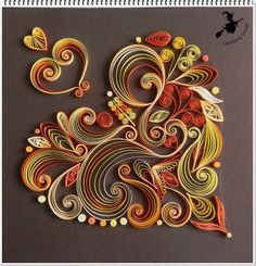 Gorgeous hearts filigree in paper or ribbon. Arte Quilling, Paper Quilling Patterns, Origami And Quilling, Quilled Paper Art, Quilling Paper Craft, Paper Beads, Paper Crafts, Paper Quilling Tutorial, Quiling Paper