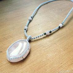 Rose Quartz Cabochons Pendant Necklace  #customershow #quartz #pendant #necklace #gemstone #jewelry #pandahall #promotion