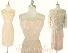 1950s/60s pink lace beautiful dress from Dane Vintage