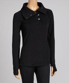 Look what I found on #zulily! Black Funnel Collar Pullover - Women & Plus #zulilyfinds