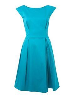 Closet V-back flared dress Turquoise - House of Fraser