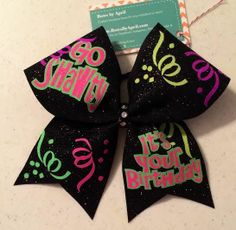 Bows by April - Go Shawty Its Your Birthday Black Glitter and Neon Confetti Cheer Bow, $22.00 (http://www.bowsbyapril.com/go-shawty-its-your-birthday-black-glitter-and-neon-confetti-cheer-bow/)