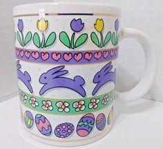 "Easter Bunny Rabbit & Egg Coffee Cup - 4"" x 3"" - J.I.I. 1997"