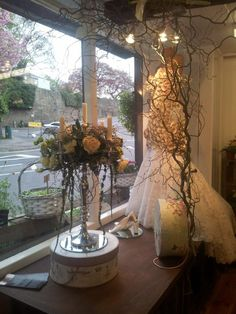 There are a lot of natural style imagery and pieces throughout the bridal boutique