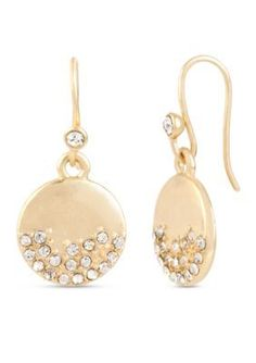 Kenneth Cole  Gold-Tone Pave Circle Drop Earring