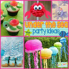 Under the Sea Party: Fishy Fun with Ocean Party Ideas. Dive into the fun with some Under the Sea Party ideas. Be sure to check out all of our Under the Sea Party Inspiration as well as all our B. Water Birthday Parties, 3 Year Old Birthday Party, Birthday Party Themes, Birthday Kids, Tea Parties, Mermaid Birthday, Ocean Party Decorations, Under The Sea Decorations, Party Animals
