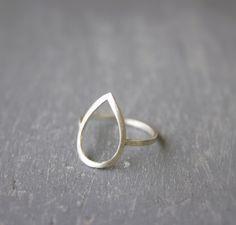 Silver Open Teardrop ring / teardrop ring / by SilverLinesJewelry, €28.39