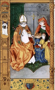"""Claude with Patron Saints (Cats Medieval)"" par Susan Herbert"