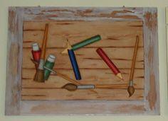 Pintura decorativa sobre placa de mdf.