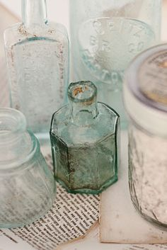 old bottles and jars Antique Glass Bottles, Vintage Bottles, Bottles And Jars, Glass Jars, Perfume Bottles, Sea Glass, Apothecary Bottles, Message In A Bottle, Vintage Love