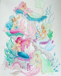 Had to get a better and brighter picture! Plus, bubbles! #mermaidlagoon #mermaid #watercolor
