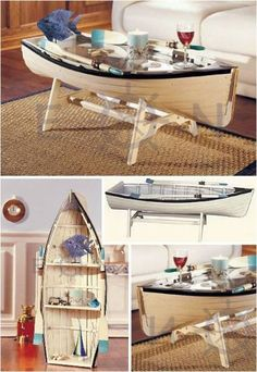 This Nautical Rowing Dory Coffee Table is 48 inches long, with a glass top! Or add the removable shelves it comes with and stand it on end to use as a bookshelf! This is my beach house coffee table. I love it, so fun! Boat Furniture, Nautical Furniture, Diy Furniture, Glass Furniture, Furniture Making, Nautical Coffee Table, Coffee Table Design, Unusual Coffee Tables, Modern Coffee Tables