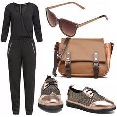 Ad una bellissima tuta abbiniamo gli accessori che brillano di un caldo color bronzo, le scarpe con lacci perfette tutto il giorno, ben si abbinano alla tracolla bicolore e agli occhiali.