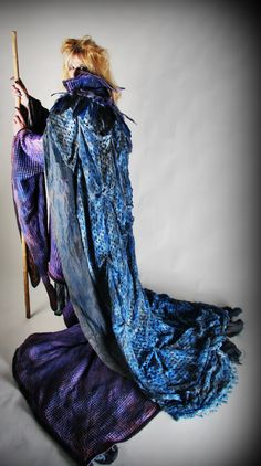 Made from plain undyed waffle cotton, the gown is hand dyed in mottled midnight colours and heavily embellished with beads, appliques, acrylic paint and foiling.   ... excuse me while i die...