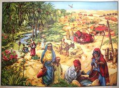 Le désert, l'oasis (affiche scolaire) Oasis, Illustration, Tropical, Vintage, Painting, Posters, Nativity Sets, Xmas, School Posters