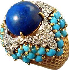 Lapis, Turquoise & Damond Ring