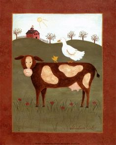 Cow with Duck Art by Valerie Wenk at AllPosters.com Framed Artwork, Wall Art Prints, Fine Art Prints, Framed Canvas, Duck Art, Cow Art, Frames For Canvas Paintings, Animal Posters, Affordable Wall Art
