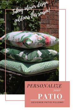 An easy way to personalize and decorate your patio this season is with designer outdoor pillows! No need to settle for less, bring luxury outdoors.