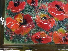 Fused Glass Wall Mural in Tuscan Theme with Poppies | Designer Glass Mosaics|Designer Glass Mosaics