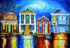 Moon Over New Orleans Painting  - Moon Over New Orleans Fine Art Print