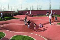 Until Munich-Riem was where airplanes took off and landed. Playground Design, Outdoor Playground, Water Playground, Landscape Concept, Landscape Design, Park Landscape, Deco Restaurant, Public Space Design, Sport Park