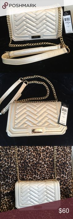 Champagne colored cross body handbag. BCBG cross body hand bag.  This hand bag has an adjustable gold chain strap.  It has two pockets inside.  The color is a very rich pearl champagne.  This bag is brand new with tags.  Great bag to add to your collection.👛💖🌺 BCBG Bags Crossbody Bags