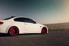 E92 #BMW M3 with #Vorsteiner V-FF 103 #Wheels in Candy Apple Red #cars #sportscars #luxury #rims #luxury #carbonfiber #red More from Vorsteiner >> http://www.motoringexposure.com/aftermarket-tuned/vorsteiner-group/