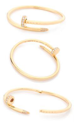 Pulsera Cartier colección Juste un Clou de oro amarillo con 0,54 quilates en brillantes Cartier Love Bracelet Diamond, Cartier Jewelry, Diamond Jewelry, Wire Jewelry Rings, Jewelry Sets, Jewelery, Stone Jewelry, Cartier Ring Price, Love Bracelets