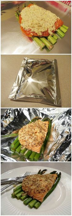 Garlic Parmesan Salmon Foil Pack. Very simple and healthy dinner. (Would be good with breadcrumbs mixed into the butter mixture)