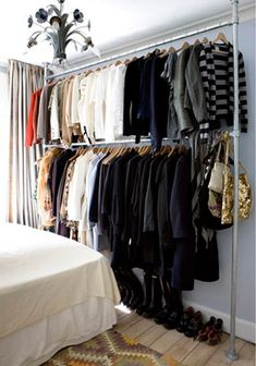 Small walk in closet ideas and organizer design to inspire you. diy walk in closet ideas, walk in closet dimensions, closet organization ideas. First Apartment, Apartment Living, Apartment Therapy, Small Apartment Closet, Studio Apartment Storage, Apartment Design, Apartment Bedrooms, Apartment Ideas, Tiny House Closet