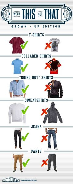 "Guys here is another straight up infographic on how to dress like a man titled ""Wear this NOT that"". From t-shirts, to men's polos, dress shirts, jeans and"