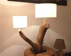 Floor Lamp weathered old oak tree on black natural by GBHNatureArt