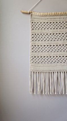 Modern Cotton Tapestry / Bohemian Wall Hanging / by LemonCucullu Crochet Decoration, Crochet Home Decor, Crochet Crafts, Crochet Yarn, Crochet Projects, Cute Crochet, Diy Crochet Wall Hanging, Crochet Wall Art, Crochet Wall Hangings
