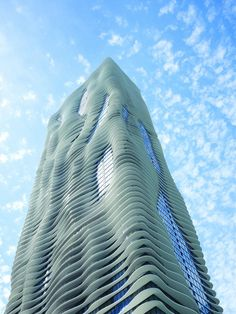 The Radisson Blue Aqua Hotel in Chicago.  Its undulating curves mirror the waves and whitecaps of Lake Michigan. #MostBeautifulArchitecture #Chicago