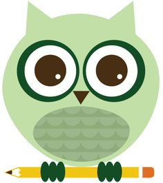 'Green Owl with Pencil' (illustrator unknown)