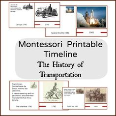 Timeline of the history of transportation printable cards for Montessori classroom and home. The set contains 30 control cards, 30 timeline cards and 30 picture matching cards.