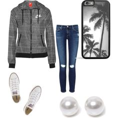 Casual day. by torrie-raines on Polyvore featuring polyvore, fashion, style, AG Adriano Goldschmied, NIKE, Converse and Nouv-Elle