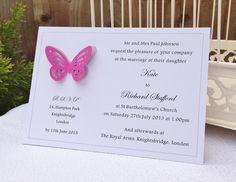 Butterfly wedding invitation 100% recycled
