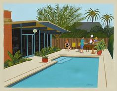 Mid Century Modern Eames Retro Limited Edition Print from Original Painting Poolside Barbecue